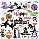 Photo Props, Funpa 45 Piezas Halloween Photo Props Decoración del partido Photobox Accesorios Photo Booth Props para Halloween Cosplay Disfraz DIY Kit Diversión Accesorios