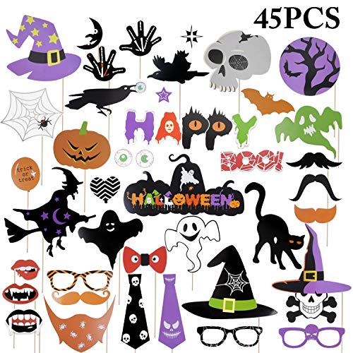 Foto Requisiten, Funpa 45 Stücke Halloween Foto Requisiten Partei Dekoration Photobox Accessoires Photo Booth Props for Halloween Cosplay Costume DIY Kit Spaß Zubehör