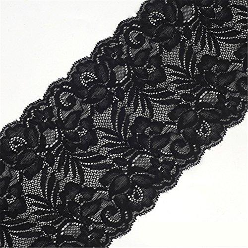 4,6m nastro di pizzo floreale elasticizzato cinghie elastiche in tessuto tulle pizzo larghezza 15cm per gioielli fai da te craft vestiti accessori da regalo matrimonio decorazione nero