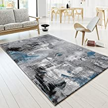 Designer Alfombra Modern Arizona Lienzo Aspecto en turquesa negro color gris jaspeado, polipropileno, gris, 200 x 290 cm