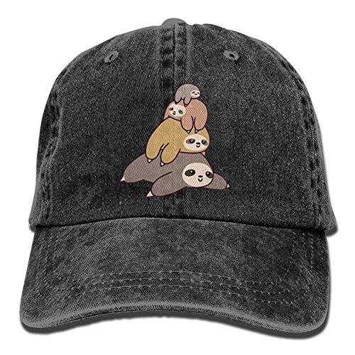 Hoswee Unisex Kappe/Baseballkappe, Adult Sloth Stack Pile Washed Denim Cotton Sport Outdoor Baseball Cap Adjustable One Size -