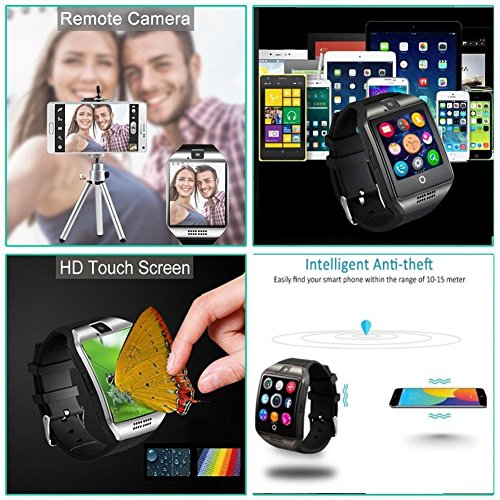 Reloj Inteligente  MallTEK Android Smartwatch con Ranura para Tarjeta SIM TF  Bluetooth Watch Hombre con Cámara para Teléfonos Inteligentes Android Samsung Huawei Lenovo Sony HTC