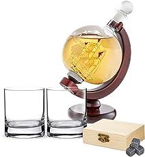 AMAVEL Whiskyset - Glaskaraffe Globus - Whiskygläser - Whiskysteine - Standard