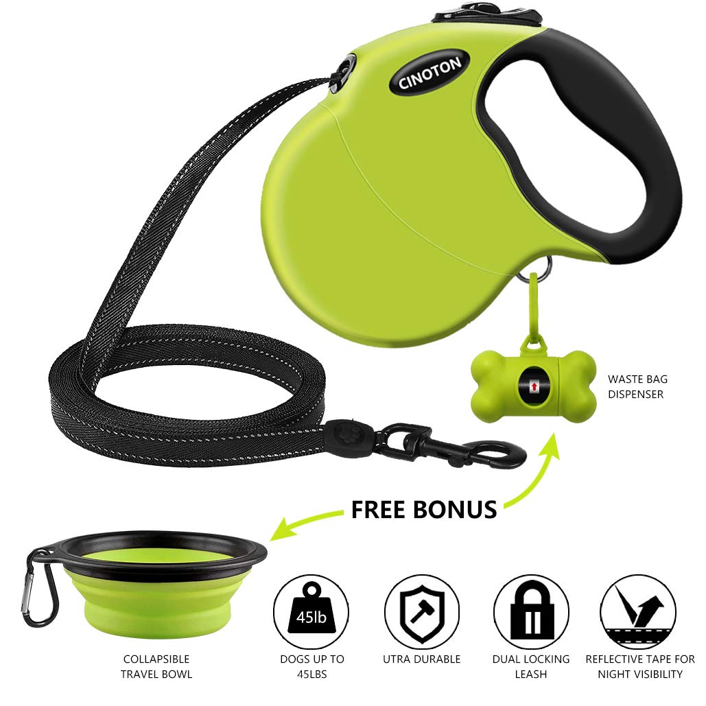 CINOTON Retractable Dog Leash with Free Waste Bag Dispenser and Bags + Bonus Bowl | Heavy-Duty 16ft Retracting Pet Leash | 1-Button Control | Durable