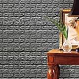 Gaddrt Neue PE-Schaum-3D-Tapete Wandpaneele Steinoptik Selbstklebend DIY Wand-Aufkleber-Wand-Dekor prägeartiger Ziegelstein-Stein für Wohnzimmer moderne Hintergrund TV-Decor, Schlafzimmer oder Küche (Grau)