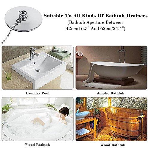 Badewannenstöpsel,Ablassschraube Badewannenstöpsel aus verchromtem Metall, langlebig zu verwenden,Universalstecker,für Küche, Spüle, Badewanne. -