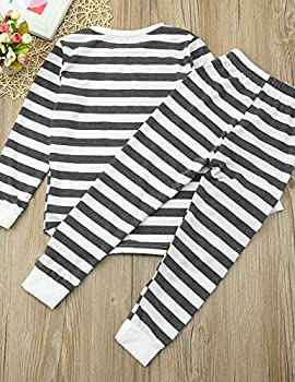 Weant Family Matching Christmas Pajamas Set Father Mother Newborn Kids Boy Girl Christmas Clothes Sets Striped Romper Jumpsuit Tops+ Pants (4 Years, Gray) 3