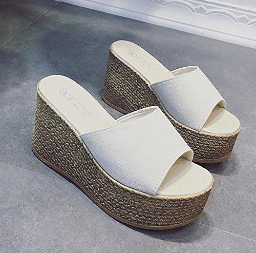 LvYuan Damen Sommer Hausschuhe / Komfort Casual Fashion / Wedge Ferse / Dick Boden / wasserdichte Plattform / Flatforms / Sandalen / Strand Schuhe apricot