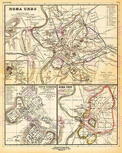 Doppelganger33 LTD Map Antique Kiepert 1903 Ancient Rome City Plan Replica Canvas Art Print -