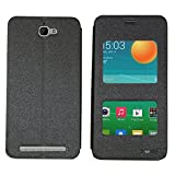 Heartly GoldSand Sparkle Luxury PU Leather Window Flip Stand Back Case Cover For Alcatel Onetouch Flash - Best Black