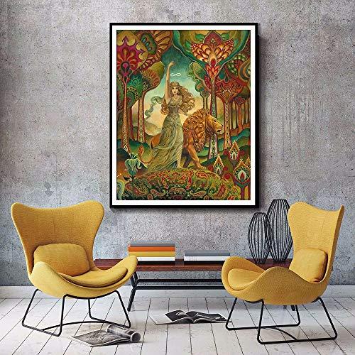 qiumeixia1 Stärke Tarot-Göttin-psychedelischer heidnischer Jugendstil-Druck heidnische Mythologie-psychedelischer böhmischer Zigeuner-Göttin-Kunst-Poster 50 * 70cm kein Rahmen (Zigeuner-wohnungen)