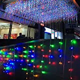 LED Lichtervorhang Lichter, LONJY 96 LED 4M Eisregen/Eiszapfen Lichter 8 Modi Weihnachtsbeleuchtung LED Schnur Licht für Schlafzimmer Patio Hof Garten Hochzeit (Mehrfarbig, 4M 96LED)