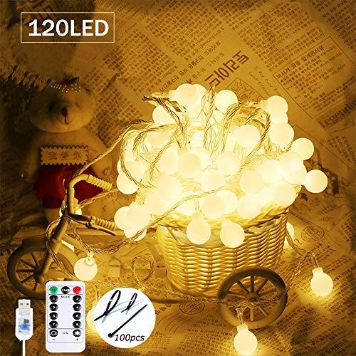SPECOOL 120 LED Glühbirne Lichterketten, 【Fernbedienung & Timer】 39FT 8 Modi Wasserdicht Globe Lichterkette Beleuchtung Perfekt für Schlafzimmer Balkon/Hochzeit/Weihnachten,Garten - Warmweiß