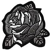 rose noir gris lot de 2 ecusson fleur porte bonheur patche insigne 7x7cm thermocollant brodé