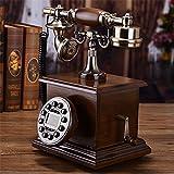 Antike Vintage Festnetztelefone, Wähleinstellungen schnurgebundene Telefone, Retro-Drehscheibe Telefon mit Massivholz Körper, Home/Office Zubehör Dekor, B