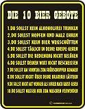 Schild Fun Türschild, Blechschild Alu geprägt + bedruckt Spruch /NEU/ Die 10 Bier Gebote !