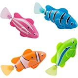 Scenstar Robo-Fisch Clownfisch Lebensechte Bewegungen, Auf- und Abtauchen   Wasserspaß für Kinder   elektronisches Wasser-Spielzeug Deep Sea Wimplefish, elektronisches Haustier bunt