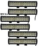 Leetop 6X 90W IP67 LED Light Bar Barra Luminosa LED Fuoristrada Auto Faro da Lavoro Luce Fari LED Auto Fendinebbia Impermeabile Flood e Spot per Auto Camion