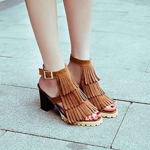 COOLCEPT Damen Mode-Event T-Spangen Sandalen Open Toe Slingback Blockabsatz Schuhe Mit Fransen Stiefel Kamel