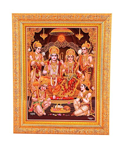 Bm Traders Golden Zari Work Photo of Ram Darbar With Gloden Frame
