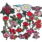 chenkou Craft 20zufällige bestickt Rose Blume sortiert Bügelbild zum Aufbügeln oder Aufnähen bestickt Patch Motiv Aufnäher