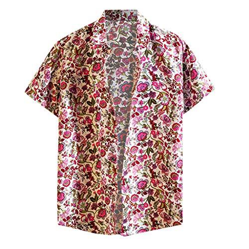 Corduroy Button Hemd (ShaDiao Herren Hemd Stehkragen, Sommer Kurzarm Bedrucktes Button Freizeithemden Casual Regular Fit Oberteile)