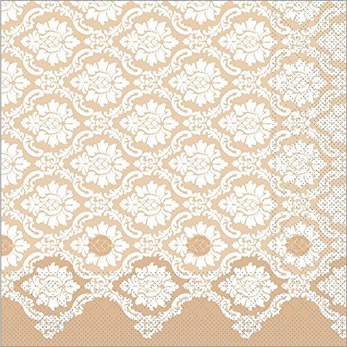 Sovie HORECA Serviette Mandy | Tissue-Servietten 40x40 cm | saugstarke und hochwertige Einweg-Servietten | ideal für Hochzeit & Feiern | 100 Stück | Hellbraun