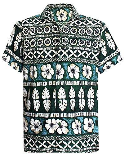 La Leela Strand Hawaiihemd Herren XS - 5XL Kurzarm Front-Tasche Hawaii-Print Casual Button Down Hemd Grün L 332 (Taste Shirt Grüne Nach Unten)