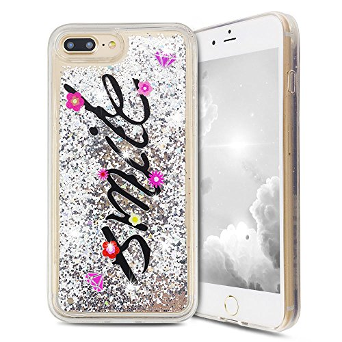 iPhone 7 Plus Hülle, iPhone 8 Plus Silikon Schutzhülle, Anfire Bling 3D Transparent Handy Case Hülle Weich TPU Silikon Schutzhülle Kreativ Dynamisch Treibsand Liquid Fließen Flüssig Muster Schale Tasc Silber Smile