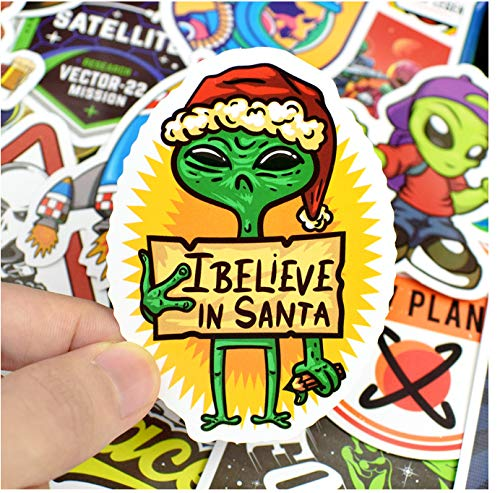 DZCYAN 50 PCS Outer Space Stickers Toys for Children Alien UFO Astronaut Rocket Ship Planet Sticker to Scrapbooking Skateboard Laptop -