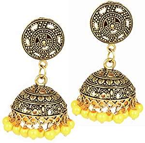 AELO-Antique Handmade Stylish & Fancy Artificial Oxidised Yellow Pearl German Silver Gold Plated Black Metal Fashion Jhumka Earrings For Women,Girls.