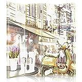 Feeby Frames. Raumteiler, Gedruckten aufCanvas, Leinwand Wandschirme, dekorative Trennwand, Paravent beidseitig, 4 teilig (145x150 cm), COLLAGE, MODERNE, PARIS, GASSE, KAFFEE, VINTAGE, VESPA, ROLLER, MULTICOLOR