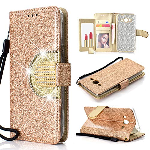 Yobby Glitzer Strass Leder Brieftasche Hülle für Samsung Galaxy J6 2018, Mode Gold Handyhülle mit Spiegel Flip Magnetisch Stand Schutzhülle mit Karte Schlüssel und Handschlaufe -
