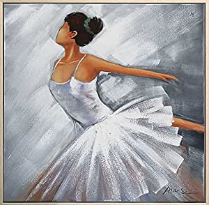 Peinture à l'huile avec cadre - motif ballerine - 84 x 84 cm