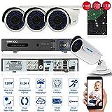 OWSOO 1080N/720p CCTV Überwachung DVR Security System HDMI P2P Onvif Netzwerk Digital Video Recorder, 1 TB Festplatte, 4 * 720P Outdoor/Indoor Infrarot-Bullet-Kamera + 4 * 60ft Kabe