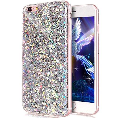 EMAXELERS Funda iPhone 6 / 6S, Ligera Silicona Suave TPU Gel Bumper Cover de Protección Antideslizante [Anti-Rasguño] Caso para iPhone 6 / 6S 4.7 Inch,Silver Hexagon TPU