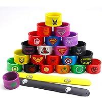 LATERN 24Pcs Bandes de Bracelet pour Enfants, Superheroes Slap Bands Silicone Bracelet Sac de Fête Remplisseurs Slap…
