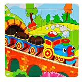 Anglewolf Wooden Kids 16 Piece jigsaw toys education and learning puzzles wooden jigsaws piece toddler square puzzle toy elephant panda puppy little lamb ship train plane goose tiger cock frog(A)