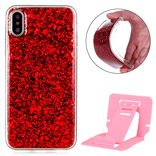 Custodia iphone X 5.8, iphone 10 Cover Glitter, Ekakashop Cover Morbido Sparkly Bling Bling Glitter TPU Silicone Gomma Soft Cover, Belle Bello Trasparente Crystal Clear Protettiva Back Cover Case Cus B-Rosso