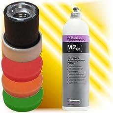 Koch Chemie Antihologramm Politur M2.01 250 ml + Polierschwamm Set 30 mm