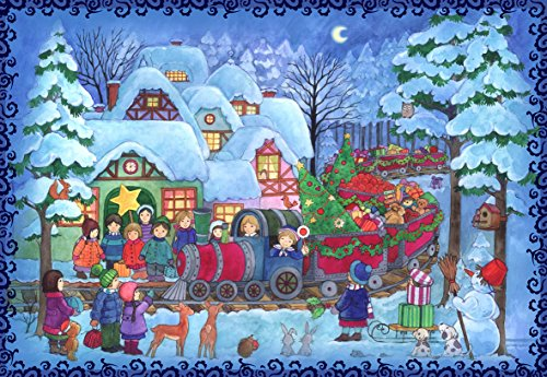 Advent Calendar 24 doors 297 x 210 mm - Snowscene Blue Children with Train - with glitter and translucent windows - RS803 - traditional antique German Design