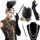 BABEYOND 1920s Flapper Set Damen Gatsby Kostüm Accessoires Set inklusive Stirnband Halskette Handschuhe Zigarettenhalter (Set-6)