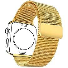 Correa para Watch Series 1 / 2,con Protector de Pantalla,Bandmax 38mm Milanese Loop Correa Milanesa Chapado en 18K Oro Reemplazo de Banda de Cierre Magnético para Apple Watch Todos los Modelos  (38mm,Dorado)