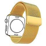 Bandmax Milanaise Uhrenarmband Ersatzarmband mit Magnetverschluss 18K Vergoldet Edelstahl Wrist...