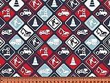 S&W - Stoff - Jersey Baustelle Schilder blau/rot -