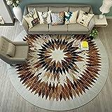 QINGTAOSHOP Runder Teppich/Multifunktionstuch / Couchtisch Computer Stuhl Teppich Braun Geometrisch (Size : 180CM)