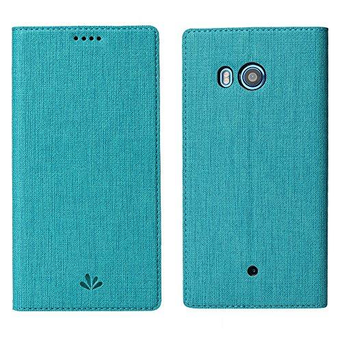 HTC U11 Hülle,Eactcoo Dünn Premium PU Leder klappbares Folio Flip Case Book TPU Cover Bumper Tasche Mit Standfunktion Magnetverschluss Kartenfach Wallet Handyhülle Für HTC U11