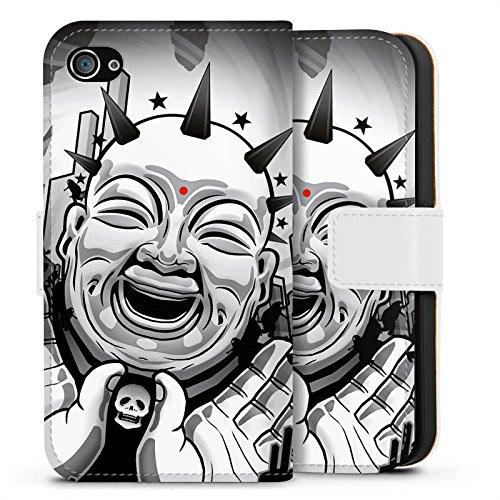 Apple iPhone X Silikon Hülle Case Schutzhülle Buddha Schwarz Weiß Kunst Sideflip Tasche weiß