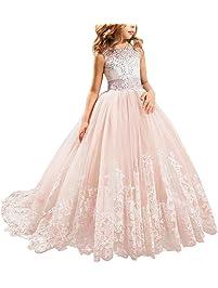 IWEMEK Princesa Appliques de Encaje Tul Vestido de Niña de Flores Boda Vestidos de Dama De