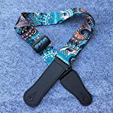 Hootenanny Style Guitar Straps Retro Braided National Style Cotton Genuine Leather Adjustable Length - Colorful
